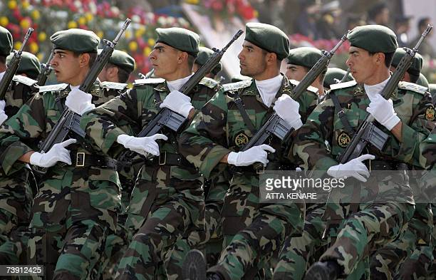 Iranian sodiers march passed President Mahmoud Ahmadinejad during the army day military parade in Tehran 18 April 2007 Ahmadinejad vowed today that...