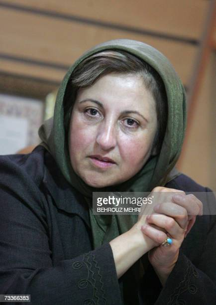 Nobel peace laureate Shirin Ebadi speaks during a press conference on censorship in Tehran 18 February 2007 A group of Iranian publishers represented...