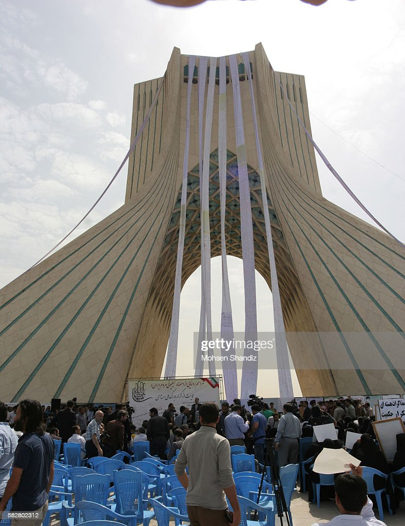 Scrolls of the signed nuclear petition hang from Tehran's Azadi Square on June 30 Corbis PHOTO /Mohsen Shandiz NO 838