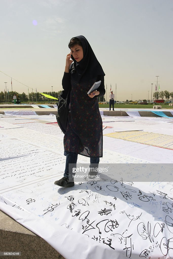 Scrolls of the signed nuclear petition hang from Tehran's Azadi Square on June 30 Corbis PHOTO /Mohsen Shandiz NO 837