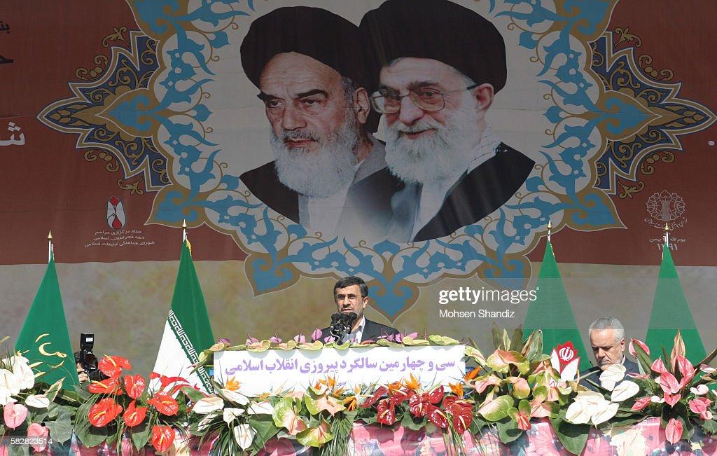 Tehran Sunday 09 February 2013 Iranian President Mahmoud Ahmadinejad speaking to a crowd gathered in Tehran's Azadi Square for 34th anniversary of...