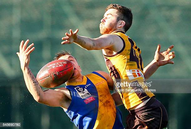 Teia Miles of Box Hill competes for the ball during the round 14 VFL match between Box Hill and Williamstown at City Oval on July 9 2016 in Melbourne...