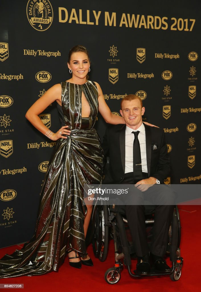 Teigan Power and Alex McKinnon arrive ahead of the Dally M Awards at The Star on September 27, 2017 in Sydney, Australia.