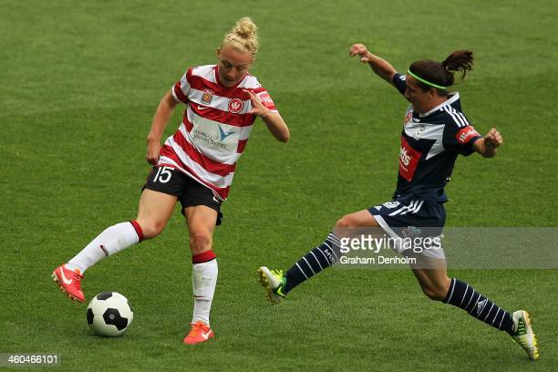 Teigen Allen of the Wanderers controls the ball during the round seven WLeague match between the Melbourne Victory and the Western Sydney Wanderers...
