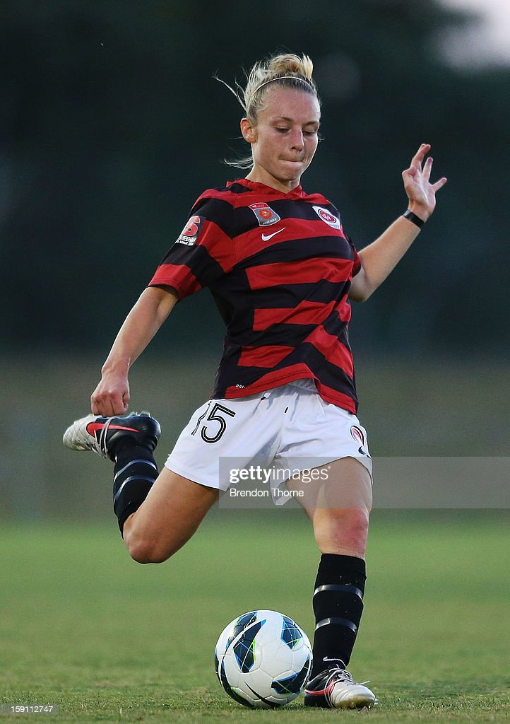 Teigen Allen of the Wanderers shoots during the round 11 W-League match between Canberra United and the Western Sydney Wanderers at McKellar Park on January 8, 2013 in Canberra, Australia.