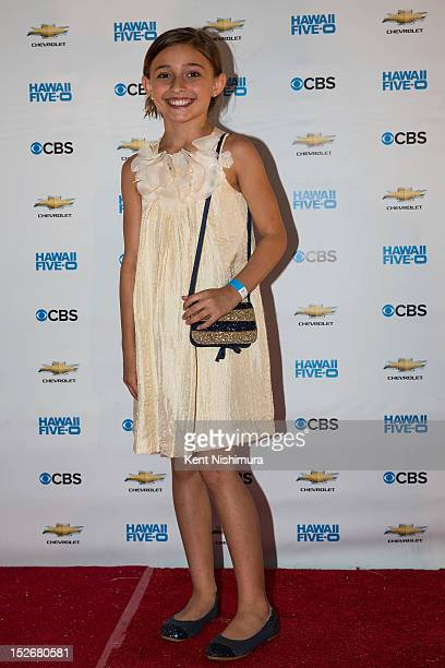 Teilor Grubbs arrives for the premiere of CBS' 'Hawaii FiveO' Season 3 at Sunset on the Beach on Waikiki Beach on September 23 2012 in Waikiki Hawaii
