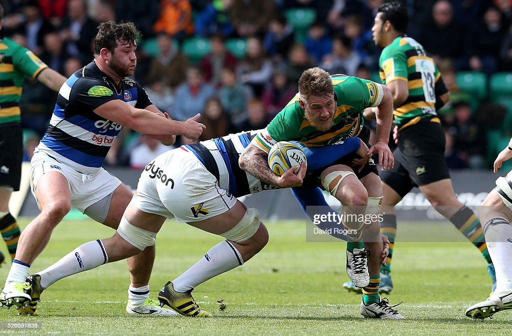 Teimanan Harrison of Northampton charges upfield during the Aviva Premiership match between Northampton Saints and Bath at Franklin's Gardens on April 30, 2016 in Northampton, England.
