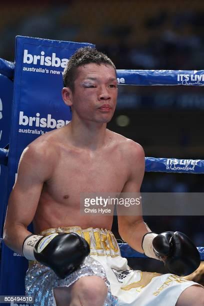 Teiru Kinoshita of Japan looks on during the IBF World Junior Bantamweight Title against Jerwin Ancajas of the Philippines ahead of the WBO...