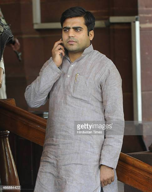 Tej Pratap Singh Yadav grandnephew of SP supremo Mulayam Singh during Budget Session of Parliament on March 19 2015 in New Delhi India Opposition...