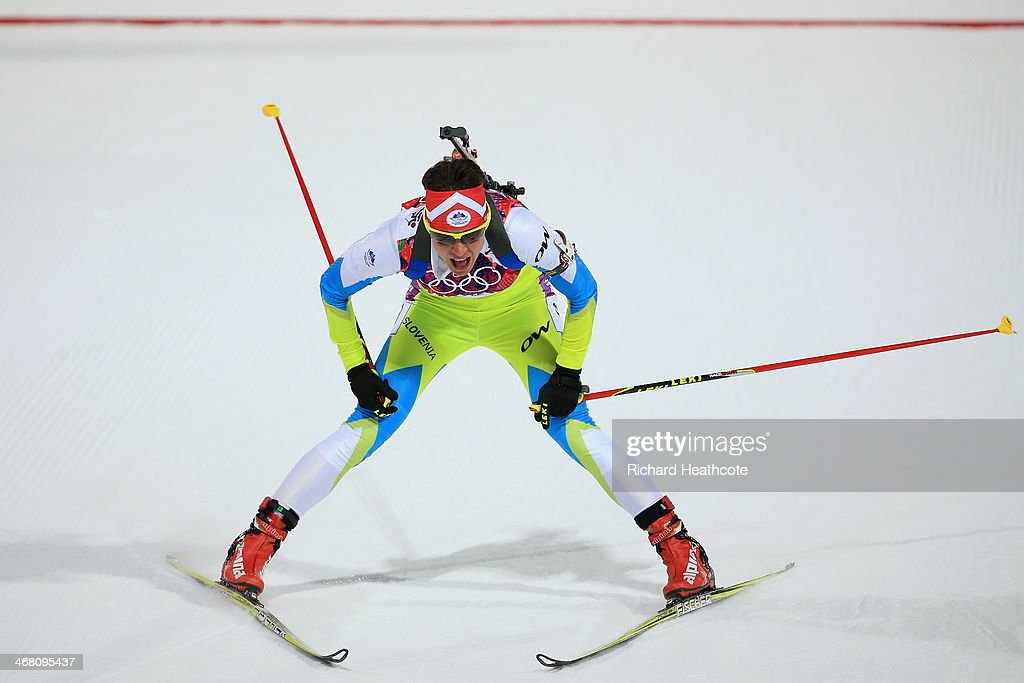 <a gi-track='captionPersonalityLinkClicked' href=/galleries/search?phrase=Teja+Gregorin&family=editorial&specificpeople=876933 ng-click='$event.stopPropagation()'>Teja Gregorin</a> of Slovakia reacts at the finish line in the Women's 7.5 km Sprint during day two of the Sochi 2014 Winter Olympics at Laura Cross-country Ski & Biathlon Center on February 9, 2014 in Sochi, Russia.