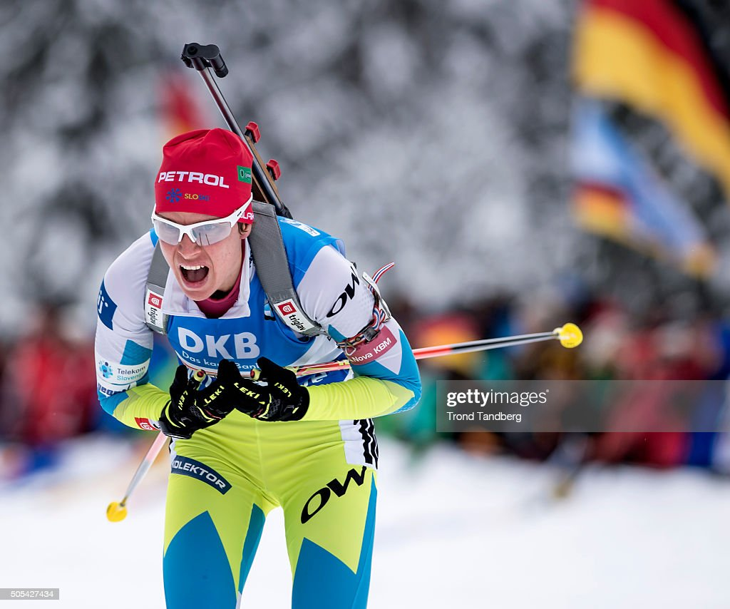 <a gi-track='captionPersonalityLinkClicked' href=/galleries/search?phrase=Teja+Gregorin&family=editorial&specificpeople=876933 ng-click='$event.stopPropagation()'>Teja Gregorin</a> of Slovenia in action during the Women 4 x 5 km relay Biathlon race at the IBU Biathlon World Cup Ruhpolding on January 17, 2016 in Ruhpolding, Germany.