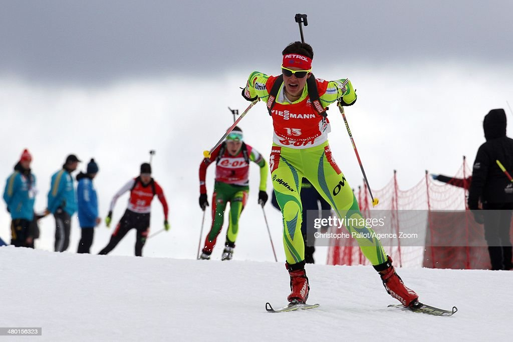 <a gi-track='captionPersonalityLinkClicked' href=/galleries/search?phrase=Teja+Gregorin&family=editorial&specificpeople=876933 ng-click='$event.stopPropagation()'>Teja Gregorin</a> of Slovenia takes 2nd place during the IBU Biathlon World Cup Men's and Women's Mass Start on March 23, 2014 in Oslo Holmenkollen, Norway.