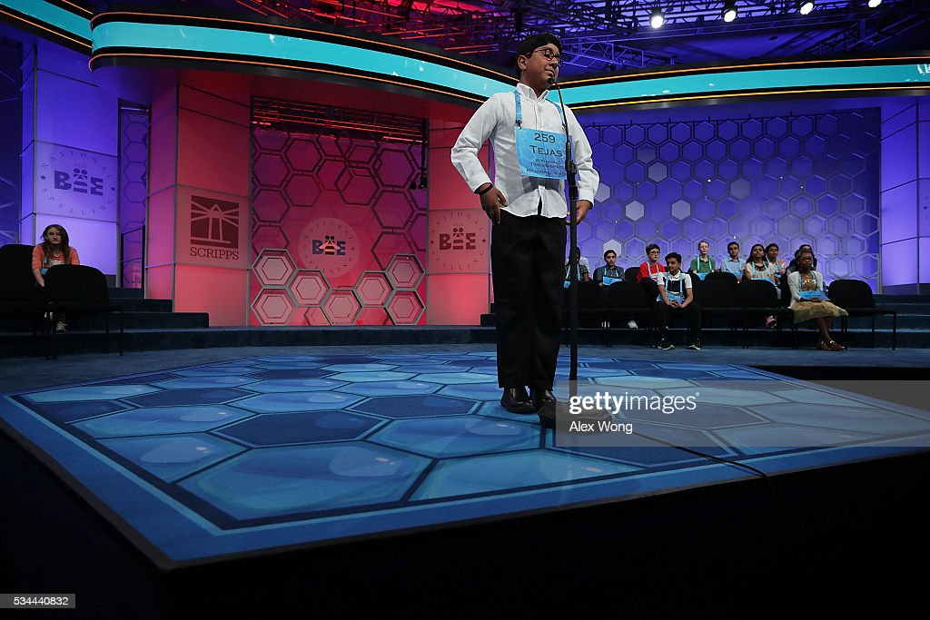 Tejas Muthusamy of Glen Allen, Virginia, participates in the finals of the 2016 Scripps National Spelling Bee May 26, 2016 in National Harbor, Maryland. Students from across the country gathered to competed for top honor of the annual spelling championship.