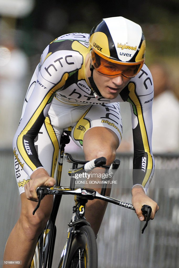 US Tejay Van Garderen (HTC-Columbia) competes during the 6,8 km individual time-trial and first stage of the 62th edition of the Criterium of Dauphine Libere cycling race run in Evian, eastern France, on June 6, 2010. Spanish team leader Alberto Contador (Astana) won the first stage ahead of Van Garderen (HTC-Columbia ) and Slovenian Janez Brajkovic (Radioshack).
