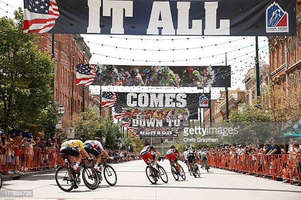 Tejay van Garderen of BMC Racing in the yellow Smashburger leader's jersey rides in the peloton during stage seven of the 2013 USA Pro Challenge on...