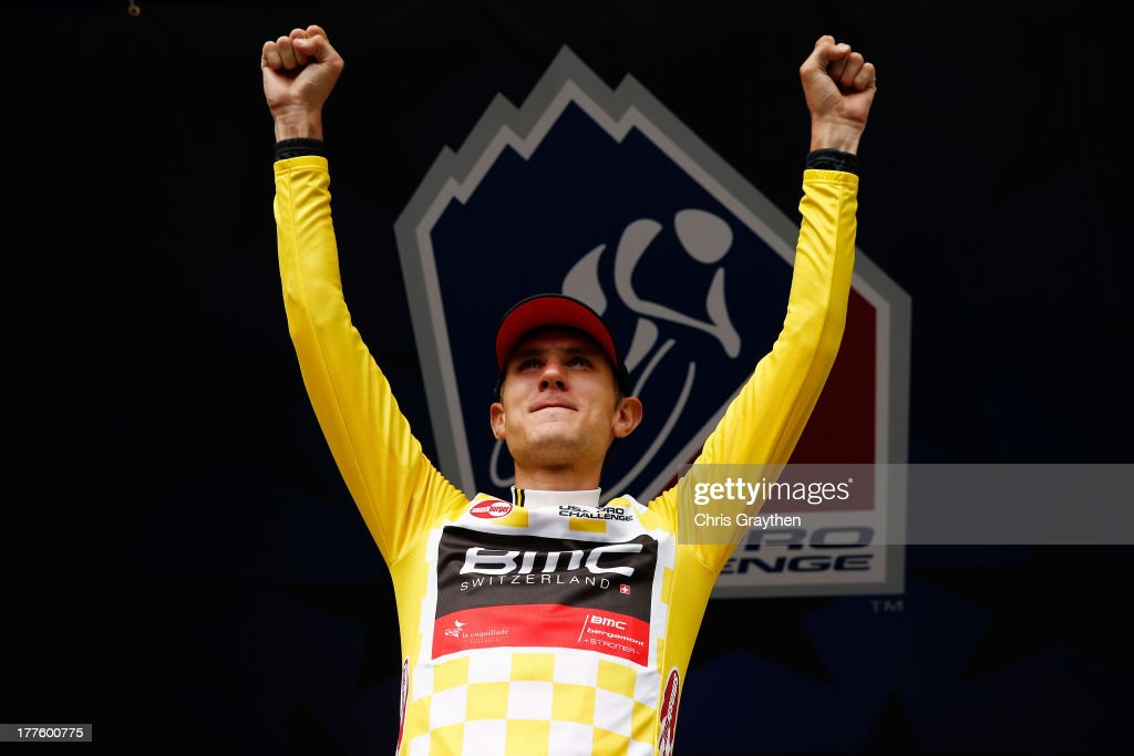 Tejay van Garderen of BMC Racing stands on the podium in the Smashburger leader's jersey after stage six of the USA Pro Challenge on August 24, 2013 in Fort Collins, Colorado.