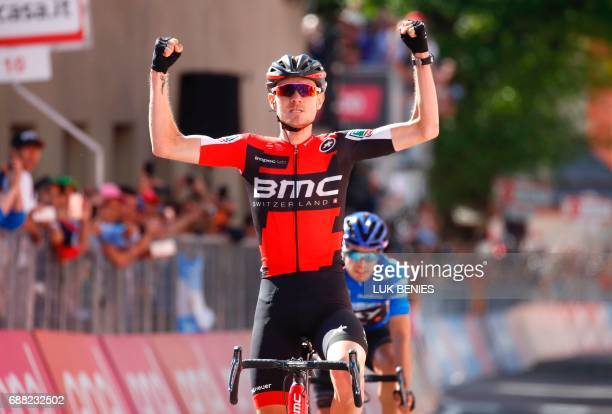 US Tejay Van Garderen of team BMC celebrates as he crosses the finish line to win the 18th stage of the 100th Giro d'Italia Tour of Italy cycling...