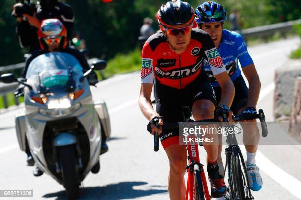 US Tejay Van Garderen of team BMC rides ahead Spain's Mikel Landa of team Sky during the 18th stage of the 100th Giro d'Italia Tour of Italy cycling...
