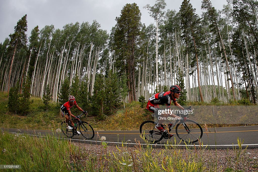 Tejay van Garderen of the BMC Racing Team leads Janier Acevedo of Columbia and team Jamis-Hagens Berman during stage four of the 2013 USA Pro Cycling Challenge from Steamboat Springs to Beaver Creek on August 22, 2013 in Beaver Creek, Colorado.