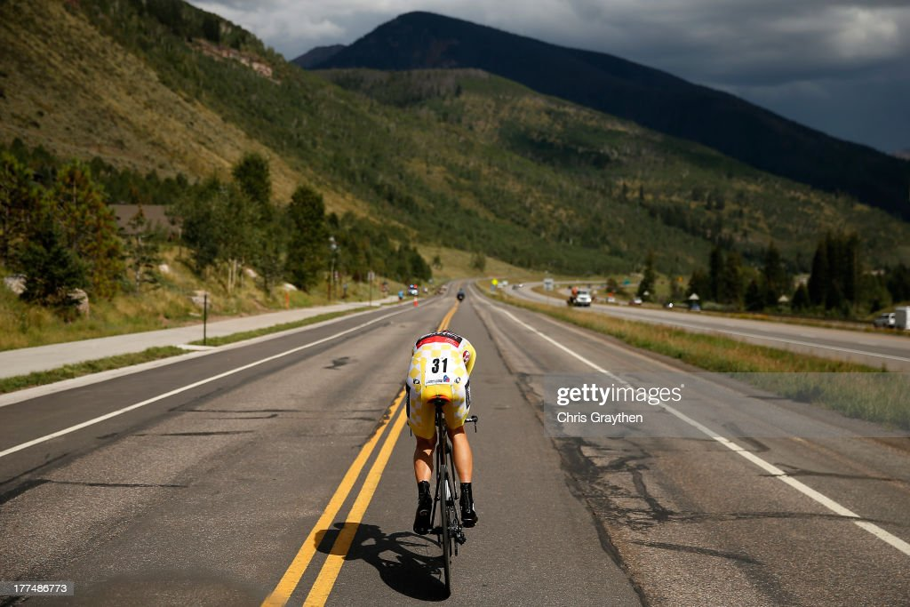 Tejay van Garderen of the BMC Racing Team rides in the yellow Smashburger leader's jersey during the individual time trial in Stage 5 of the USA Pro Cycling Challenge on August 23, 2013 in Vail, Colorado. van Garderen won the stage, and defedned his overall lead in the yellow jersey.