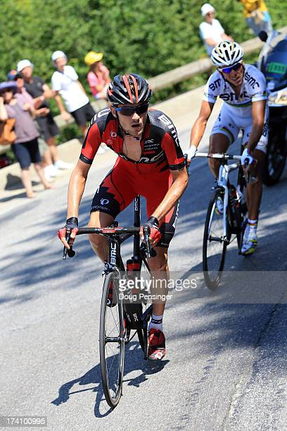Tejay van Garderen of the United States and teammate Philipe Gilbert of Beglium and BMC Racing Team in action during stage twenty of the 2013 Tour de...