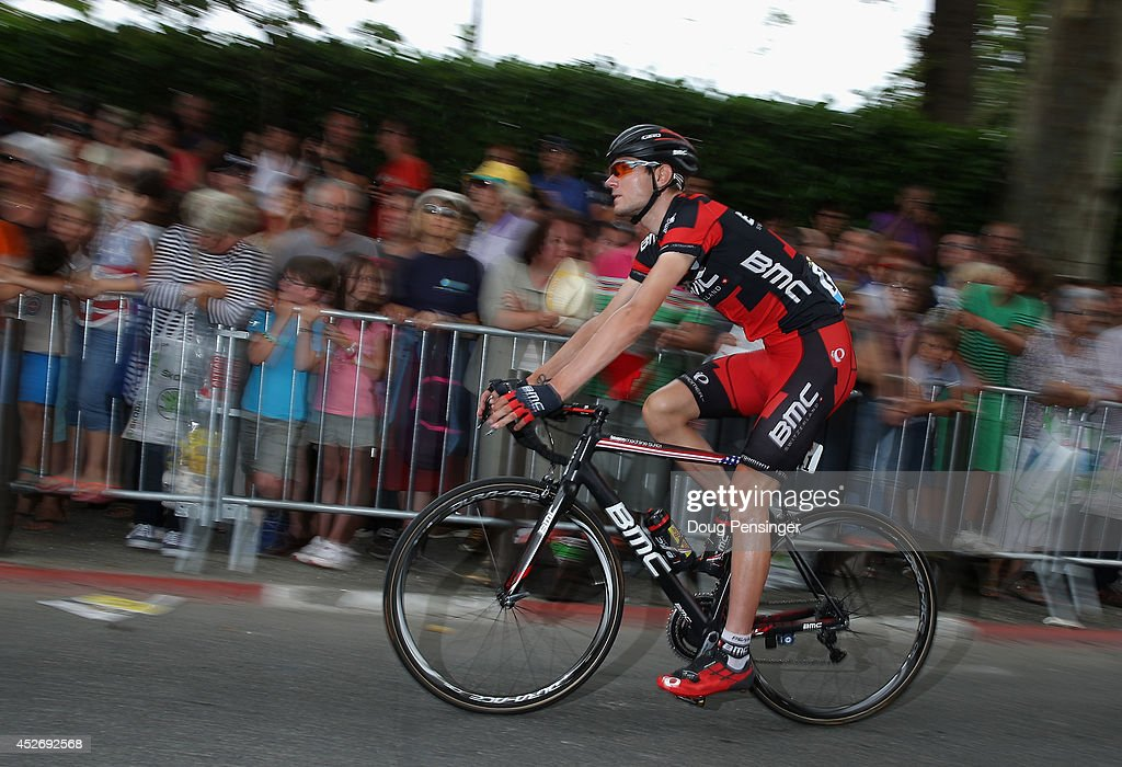 Tejay van Garderen of the United States and the BMC Racing Team arrives at sign in for the eighteenth stage of the 2014 Tour de France, a 146km stage between Pau and Hautacam, on July 24, 2014 in Pau, France.