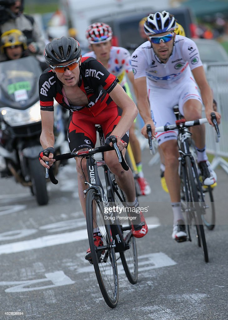 Tejay van Garderen (L) of the United States and the BMC Racing Team leads the group with <a gi-track='captionPersonalityLinkClicked' href=/galleries/search?phrase=Thibaut+Pinot&family=editorial&specificpeople=6335753 ng-click='$event.stopPropagation()'>Thibaut Pinot</a> (R) of France and FDJ.fr in the Best young rider's white jersey and Rafal Majka (C) of Poland and Tinkoff-Saxo in the king of the mountins polka dot jersey on the climb to the finish of the eighteenth stage of the 2014 Tour de France, a 146km stage between Pau and Hautacam, on July 24, 2014 in Hautacam, France.