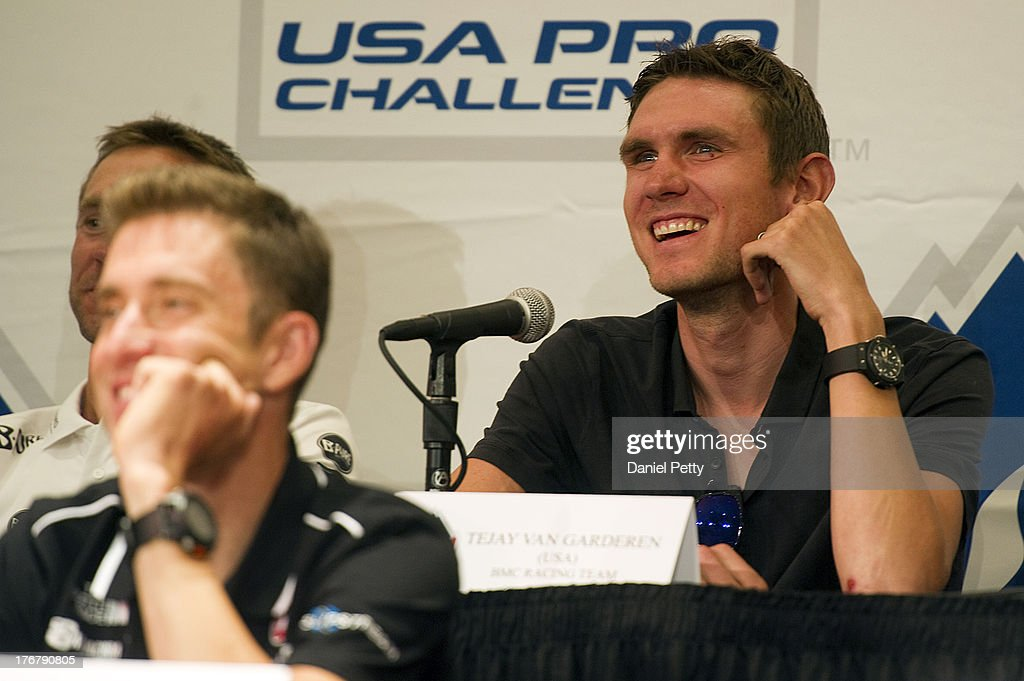 Tejay van Garderen of the United States riding for BMC Racing speaks during a pre-race press conference for the USA Pro Challenge at the Aspen Institute on August 18, 2013, in Aspen, Colorado.