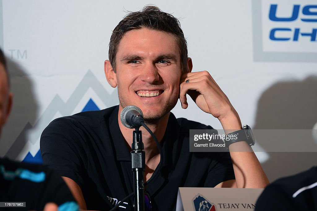 Tejay van Garderen of the United States riding for BMC Racing Team has a laugh during the Kick-Off Press Conference prior to the start of the USA Pro Challenge at the Paepcke Auditorium on August 18, 2013 in Aspen, Colorado. Copyright 2013