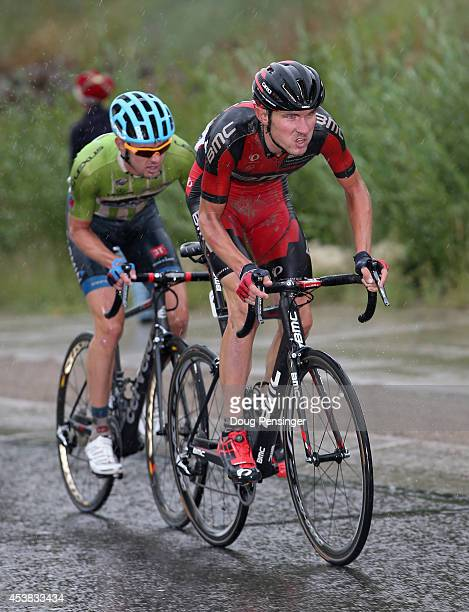 Tejay van Garderen of the United States riding for the BMC Racing Team leads Alex Howes of the United States riding for Garmin Sharp on the climb to...