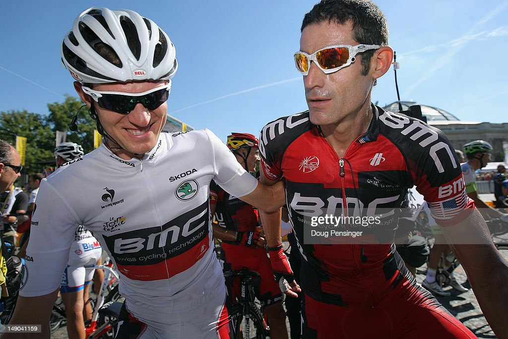 Tejay Van Garderen of the USA and BMC Racing celebrates winning white jersey for the maillot blanc young riders competition with teamte George Hincapie (R) the during the twentieth and final stage of the 2012 Tour de France, from Rambouillet to the Champs-Elysees on July 22, 2012 in Paris, France.