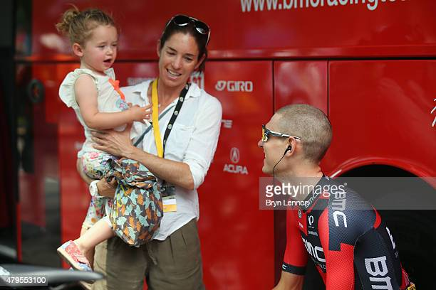 Tejay van Garderen of the USA and the BMC Racing team spends time with his wife Jessica and daughter Rylan at the start of stage two of the 2015 Tour...