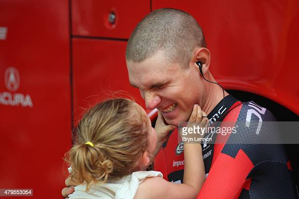 Tejay van Garderen of the USA and the BMC Racing team spends with time with his daughter Rylan at the start of stage two of the 2015 Tour de France a...