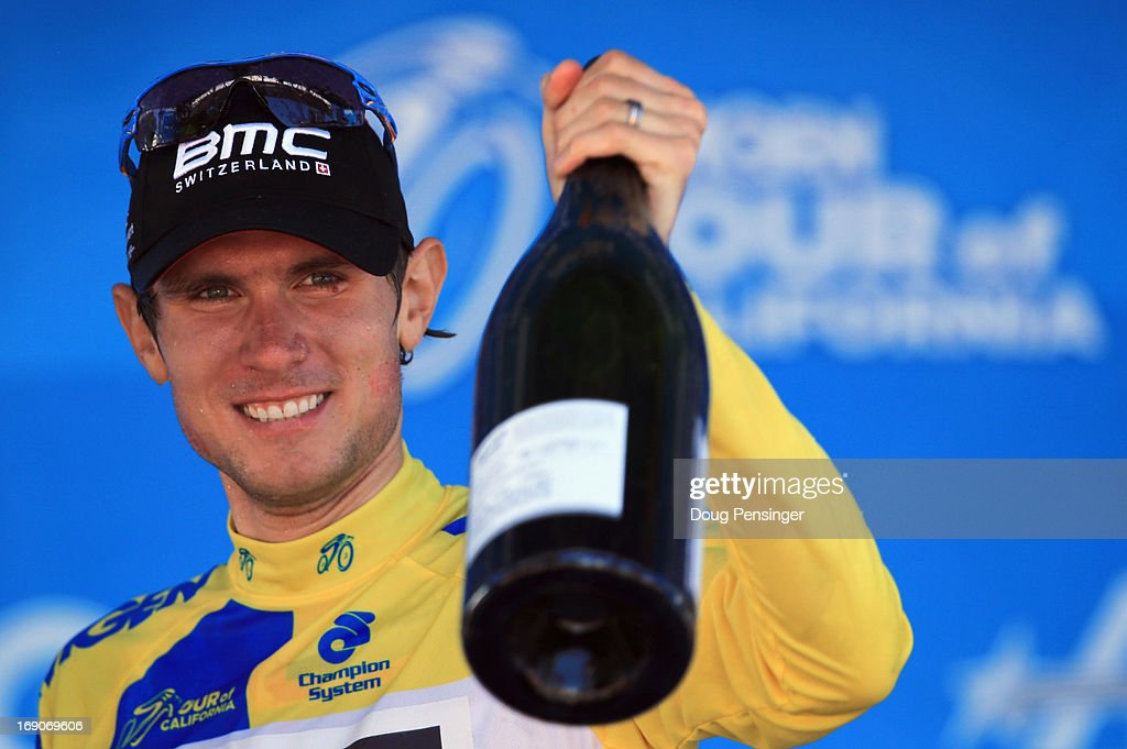 Tejay van Garderen of the USA riding for BMC Racing celebrates on the podium following Stage Eight as he won the overall race leader's jersey of the 2013 Amgen Tour of California from San Francisco to Santa Rosa on May 19, 2013 in Santa Rosa, California.