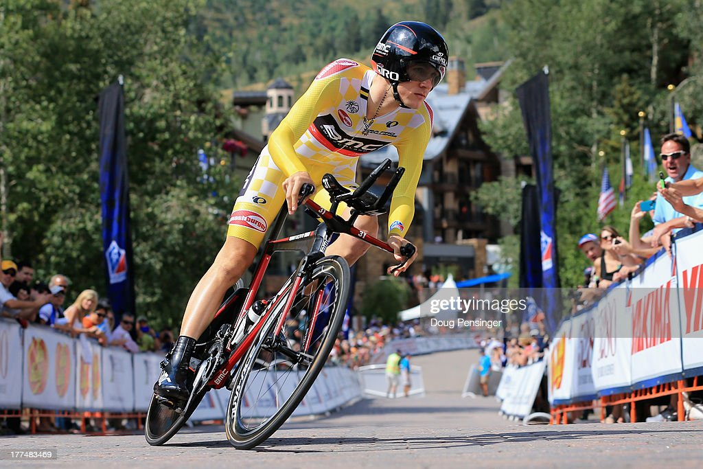 Tejay van Garderen of the USA riding for BMC Racing competes in the individual time trial wearing the overall race leader's yellow jersey during stage five of the 2013 USA Pro Challenge on August 23, 2013 in Vail, Colorado.