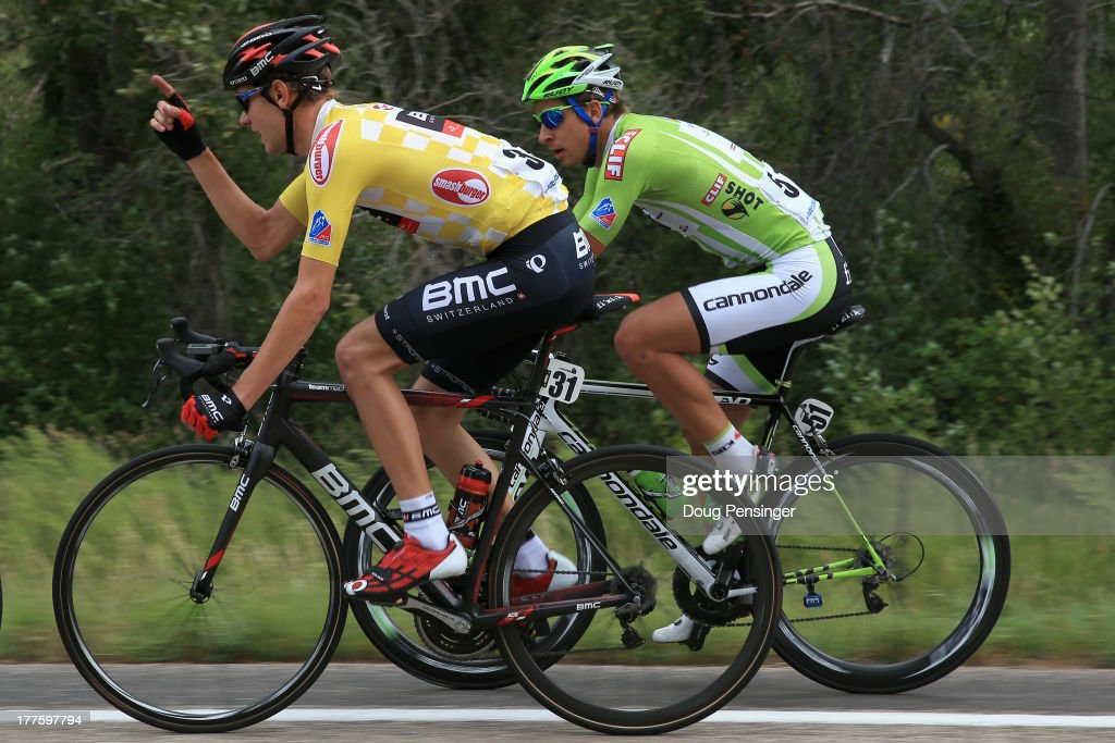 Tejay van Garderen of the USA riding for BMC Racing defends the overall race leader's yellow jersey and <a gi-track='captionPersonalityLinkClicked' href=/galleries/search?phrase=Peter+Sagan&family=editorial&specificpeople=4846179 ng-click='$event.stopPropagation()'>Peter Sagan</a> of Slovakia riding for Cannondale Pro Cycling defends the points leader's green jersey during stage six of the 2013 USA Pro Challenge from Loveland to Fort Collins on August 24, 2013 in Fort Collins, Colorado.