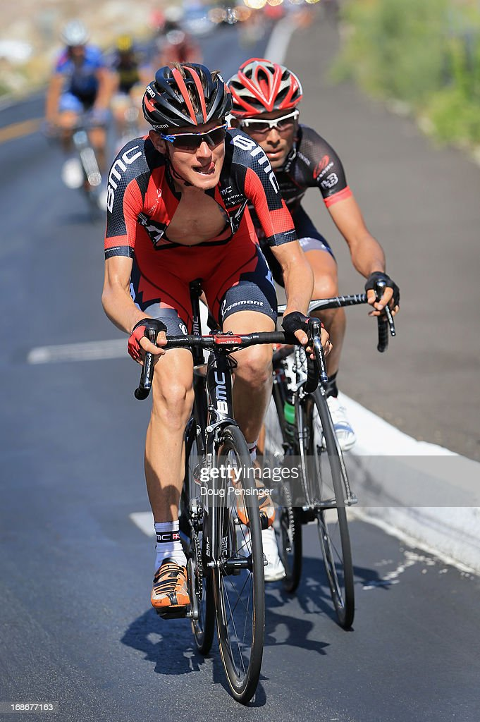Tejay van Garderen of the USA riding for BMC Racing leads Javier Acevedo of Columbia riding for Jamis-Hagens Berman on the climb to the Palm Springs Aerial Tramway for the finish of Stage Two of the 2013 Amgen Tour of California from Murrieta to Palm Springs on May 13, 2013 in Palm Springs, California. Acevedo won the stage and earned the yellow jersey and and van Garderen finished second.
