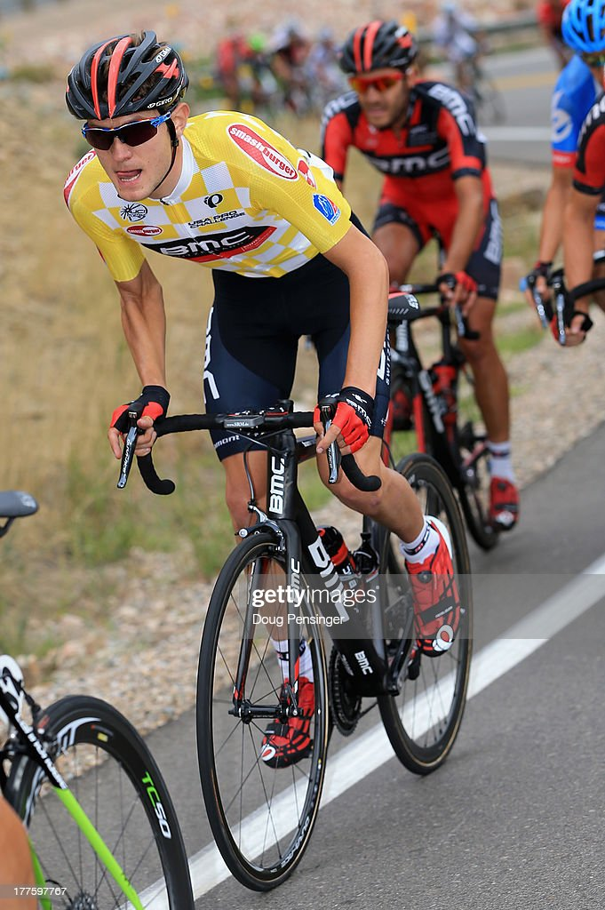 Tejay van Garderen of the USA riding for BMC Racing rides in the peloton as he defended the overall race leader's yellow jersey during stage six of the 2013 USA Pro Challenge from Loveland to Fort Collins on August 24, 2013 in Fort Collins, Colorado.