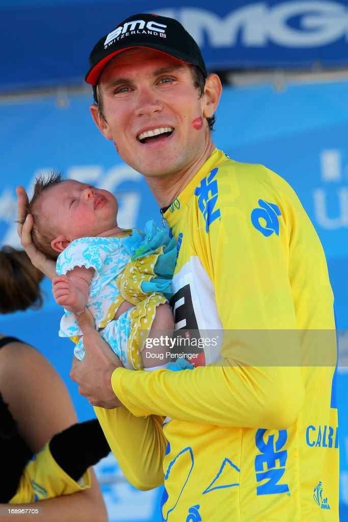 Tejay van Garderen of the USA riding for BMC Racing takes the podium with his daughter Rylan after winning the Individual Time Trial during Stage Six and defending the overall race leader's jersey in the 2013 Amgen Tour of California on May 17, 2013 in San Jose, California.