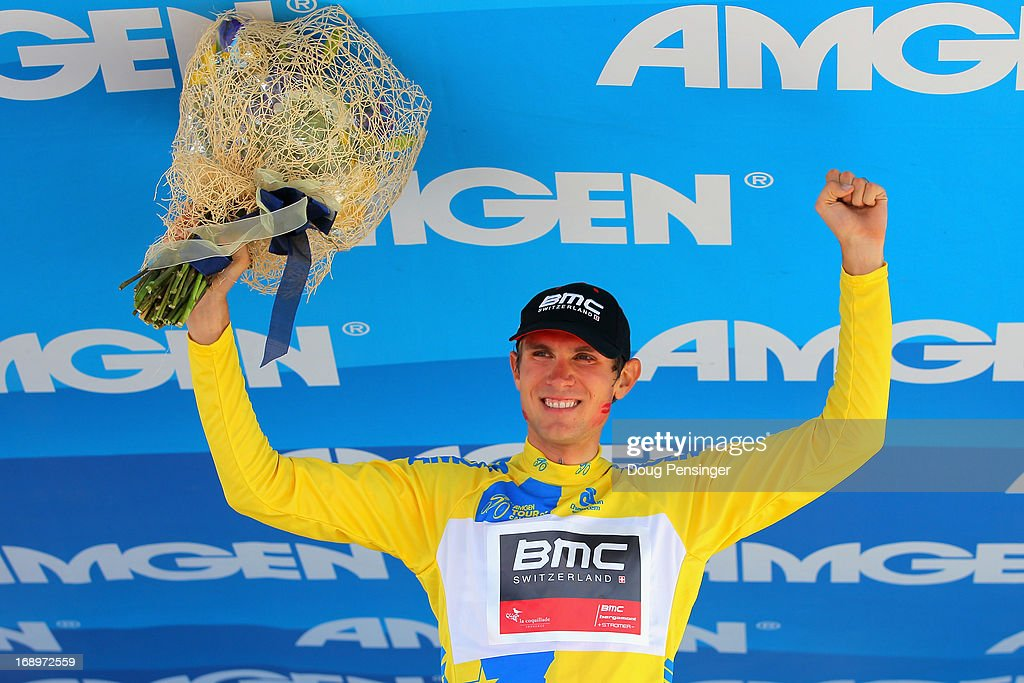 Tejay van Garderen of the USA riding for BMC Racing takes the podium after winning the Individual Time Trial during Stage Six and defending the overall race leader's jersey in the 2013 Amgen Tour of California on May 17, 2013 in San Jose, California.