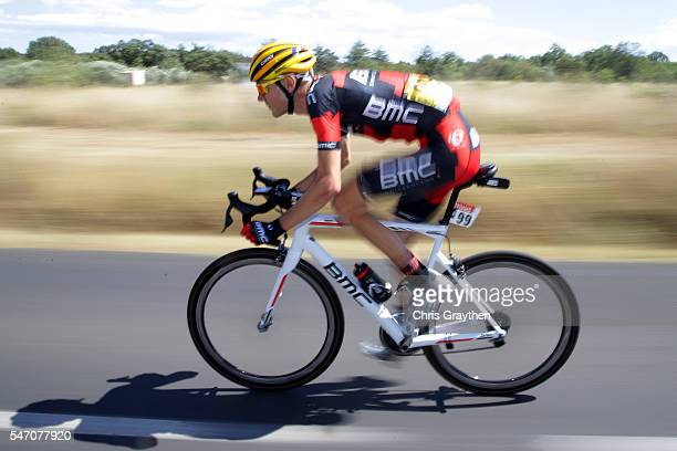 Tejay van Garderen of United States riding for BMC Racing Team races back to the peloton after a crash during stage eleven of the 2016 Le Tour de...