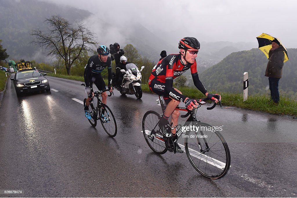 Tejay van Garderen of USA and Christopher Froome of Great Britain in the attack during stage 4 of the Tour de Romandie on April 30, 2016 in Villars-sur-Ollon, Switzerland.