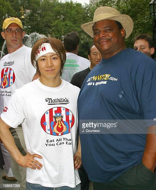 Tekeru Kobayashi three time winner of the Nathan's Fourth of July International Hot Dog Eating Contest with Richard 'Refrigerator' Perry