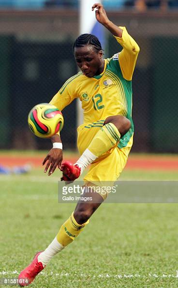Teko Modise of South Africa controls the ball during the AFCON and FIFA 2010 World Cup Qualifier match between Sierra Leone and South Africa held at...