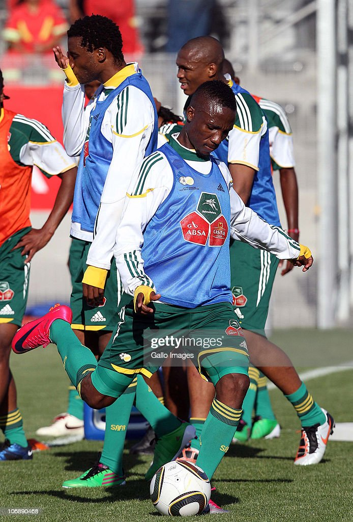 Teko Modise of South Africa in action during a South Africa team training session ahead of the Nelson Mandela Challenge Cup match against the USA at the Philippi Stadium on November 15, 2010 in Cape Town, South Africa.