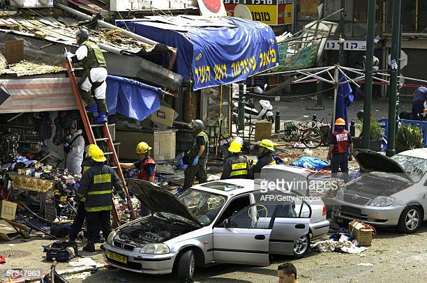 The scene of destruction following a suicide attack in the southern Neveh Sha'anan district close to the site of Tel Aviv's old bus station17 April...