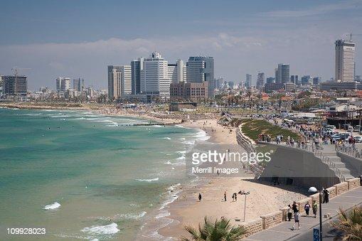 Tel Aviv skyline, beach, and Mediterranean Sea
