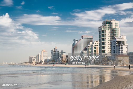 Tel Aviv skyline with Mediterranean, Israel