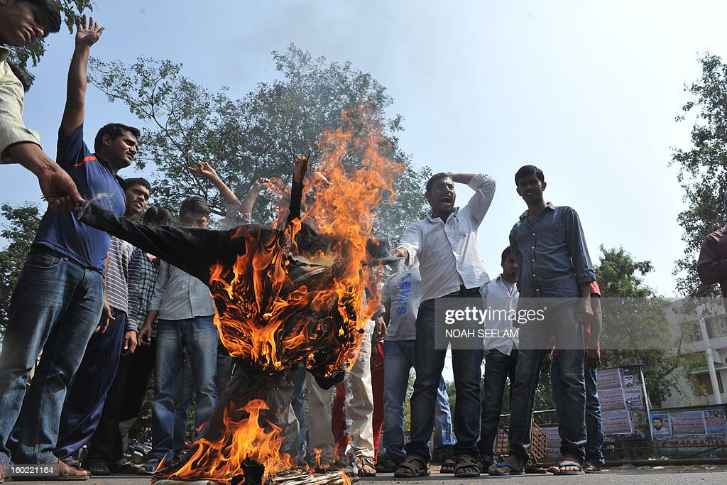 Telangana Joint Action Committee (TJAC) activists burn and effigy representing the UPA government during a protest demanding the separate state of telangana in Hyderabad on January 28, 2013. The activists demanded the UPA government to announce statehood for Telangana in the southern Indian state of Andhra Pradesh. AFP PHOTO / Noah SEELAM