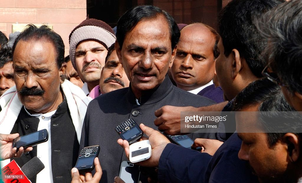 Telangana Leader Chandrashekher Rao talking to the media after an all-party meeting on Telangana issue at North Block on December 28, 2012 in New Delhi, India. Sushilkumar Shinde today announced in New Delhi that there will be decision within one-month on the Telangana statehood demand.